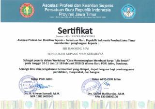 SERTIFIKAT APKS WORKSHOP CARA MENYENANGKAN MENULIS KARYA TULIS ILMIAH TAHUN 2018.pdf