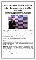 RIL 41st Annual General Meeting today  Key announcements of last 3 editions.pdf