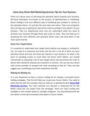 Some Easy Direct Mail Marketing Services Tips For Your Business.pdf